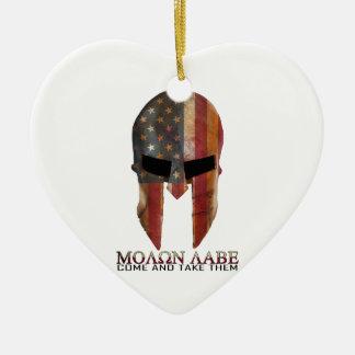 Molon Labe - Come and Take Them USA Spartan Ceramic Ornament
