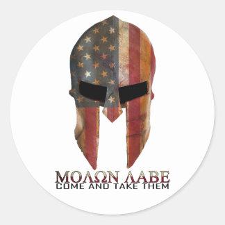 Molon Labe - Come and Take Them USA Spartan Classic Round Sticker