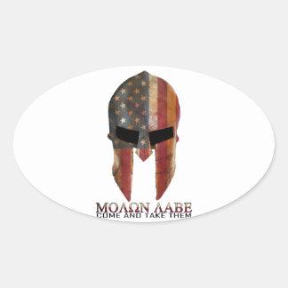 Molon Labe - Come and Take Them USA Spartan Oval Sticker
