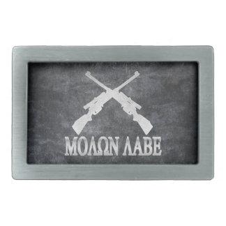 Molon Labe Crossed Rifles 2nd Amendment Belt Buckle