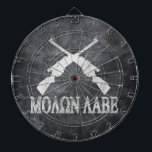 "Molon Labe Crossed Rifles 2nd Amendment Dart Board<br><div class=""desc"">Second Amendment Constitutional Gun Rights products and accessories. Greek letters and two long guns translates to &quot;Come and Take Them&quot;.  Stand firm for gun ownership and 2nd Amendment rights as guaranteed by the Constitution and Bill of Rights,  as formulated by America&#39;s Founding Fathers. Conservative political dart board.</div>"