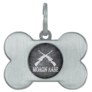 Molon Labe Crossed Rifles 2nd Amendment Pet Tags