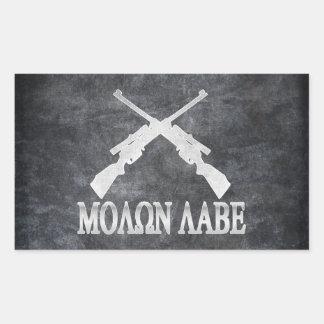 Molon Labe Crossed Rifles 2nd Amendment Rectangle Stickers