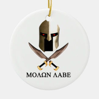 MOLON LABE Double-Sided CERAMIC ROUND CHRISTMAS ORNAMENT