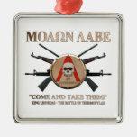 Molon Labe - escudo espartano Ornamento Para Arbol De Navidad