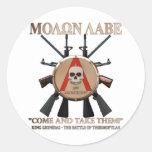 Molon Labe - escudo espartano Etiquetas Redondas