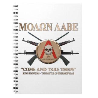Molon Labe - escudo espartano Libro De Apuntes