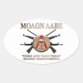 Molon Labe - escudo espartano Calcomanía De Óval Personalizadas