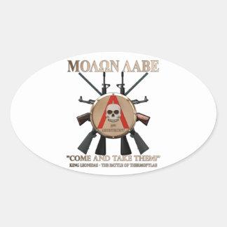 Molon Labe - escudo espartano Pegatina Ovalada