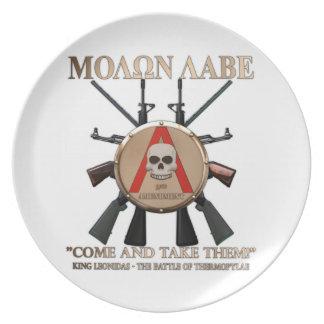 Molon Labe - escudo espartano Platos Para Fiestas