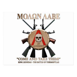 Molon Labe - escudo espartano Postal