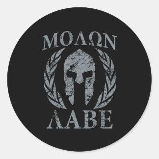 Molon Labe Grunge Spartan Armor Classic Round Sticker