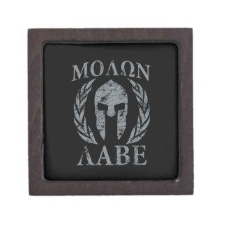 Molon Labe Grunge Spartan Armor Keepsake Box