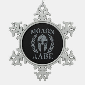 Molon Labe Grunge Spartan Armor Snowflake Pewter Christmas Ornament