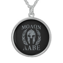 Molon Labe Grunge Spartan Armor Sterling Silver Necklace