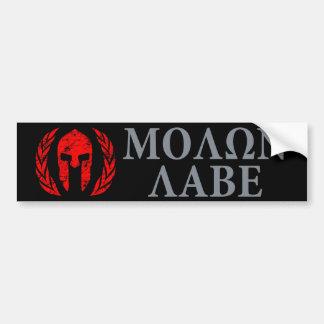 Molon Labe Grunge Spartan Helmet Bumper Stickers