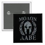Molon Labe Grunge Spartan Helmet 2 Inch Square Button