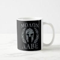 Molon Labe Grunge Spartan Helmet Classic White Coffee Mug