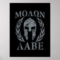 Molon Labe Grunge Spartan Helmet Poster