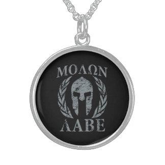 Molon Labe Grunge Spartan Helmet Round Pendant Necklace