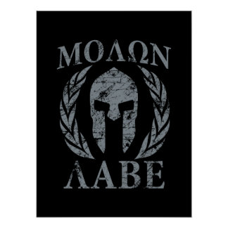 Molon Labe Grunge Spartan Mask Poster