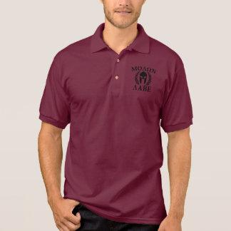 Molon Labe Laurels Spartan Helmet Polo T-shirt
