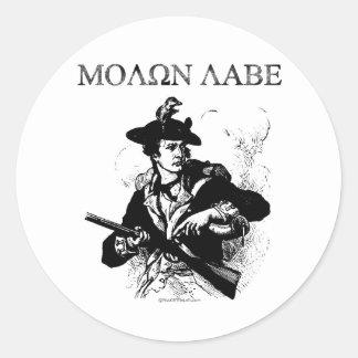 Molon Labe Minuteman Round Sticker