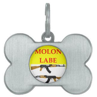 molon labe pet name tag