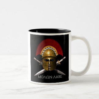 Molon Labe Skull Two-Tone Coffee Mug