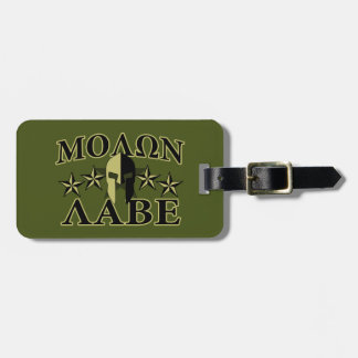 Molon Labe Spartan 5 stars Olive Green Bag Tag