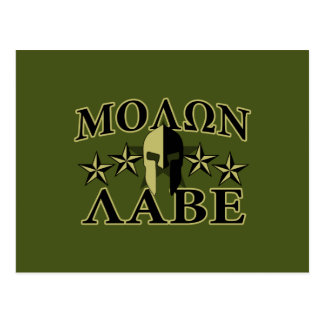 Molon Labe Spartan 5 stars Olive Green Postcard