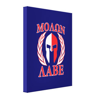 Molon Labe Spartan Armor Laurels Navy Blue Canvas Print