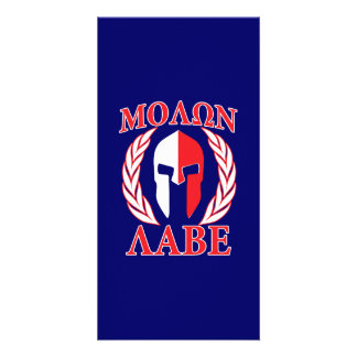 Molon Labe Spartan Armor Laurels Navy Blue Card