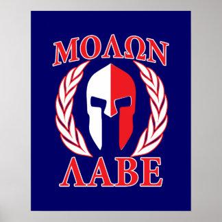 Molon Labe Spartan Armor Laurels Navy Blue Poster