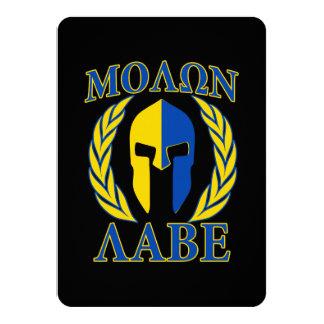 Molon Labe Spartan Armor Laurels Yellow Blue Card