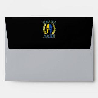Molon Labe Spartan Armor Laurels Yellow Blue Envelope