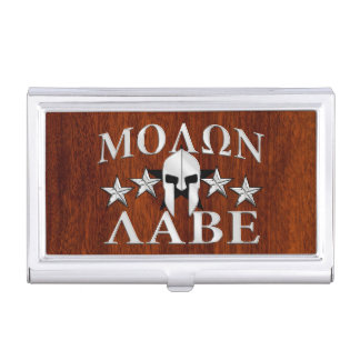 Molon Labe Spartan Helmet 5 stars Mahogany Style Business Card Holder
