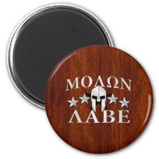 Molon Labe Spartan Helmet 5 stars Mahogany Style Magnet