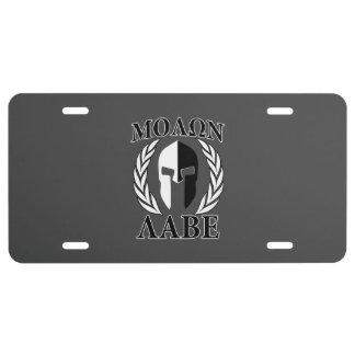 Molon Labe Spartan Helmet Laurels Black License Plate