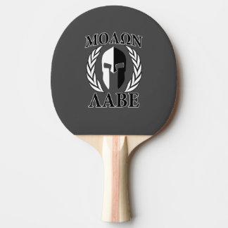 Molon Labe Spartan Helmet Laurels Black Ping Pong Paddle
