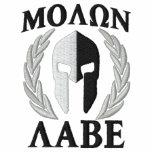 Molon Labe Spartan Helmet Laurels Black White Embroidered Shirt