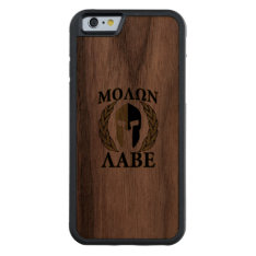 Molon Labe Spartan Helmet Laurels Camouflage Carved® Walnut Iphone 6 Bumper at Zazzle