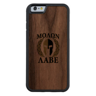 Molon Labe Spartan Helmet Laurels Camouflage Carved® Walnut iPhone 6 Bumper