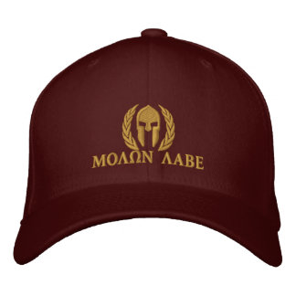 Molon Labe Spartan Helmet Laurels Embroidery Embroidered Baseball Hat