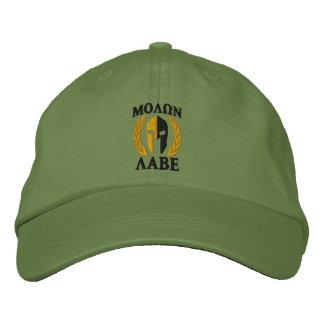 Molon Labe Spartan Helmet Laurels Gold Black Cap