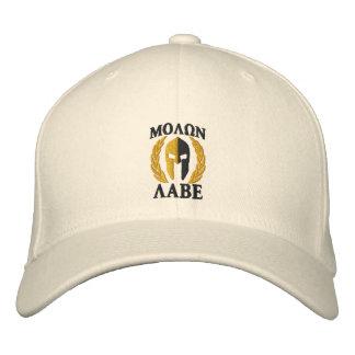 Molon Labe Spartan Helmet Laurels Gold Black Embroidered Baseball Hat
