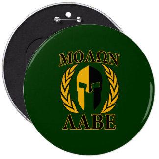 Molon Labe Spartan Helmet Laurels Gold Pinback Button