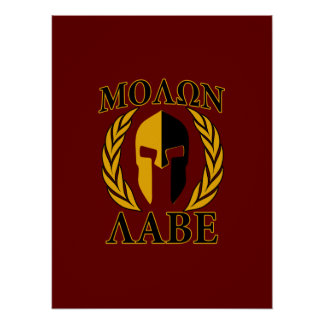 Molon Labe Spartan Helmet Laurels Gold Poster