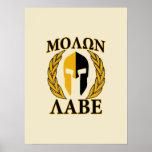 Molon Labe Spartan Helmet Laurels Gold Posters