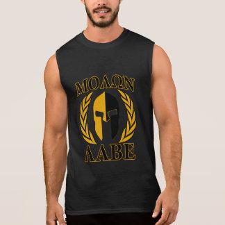 Molon Labe Spartan Helmet Laurels Gold Sleeveless Tees